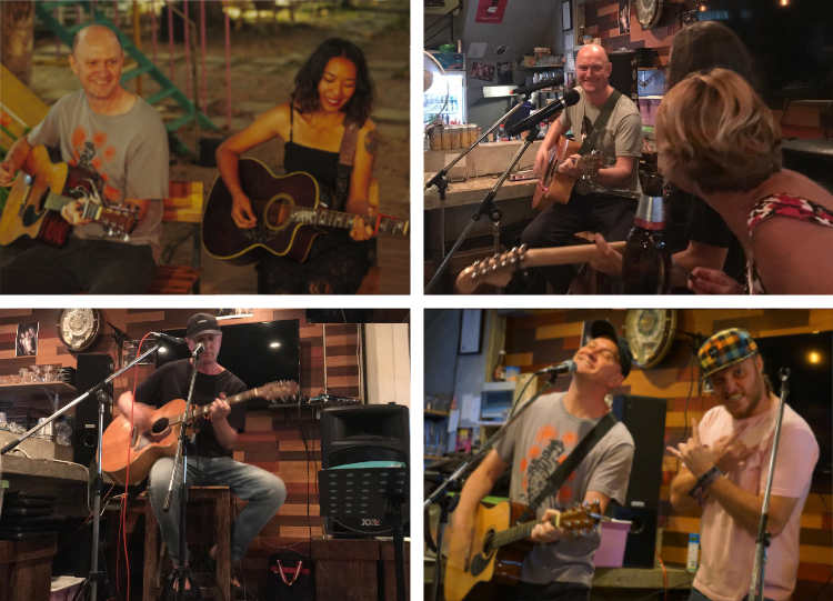 playing guitar and singing with friends in Chiang Mai