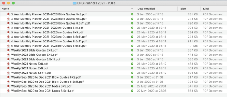 weekly and monthly planners PDF file names in window