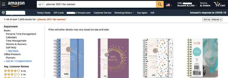 planner for women search results on amazon