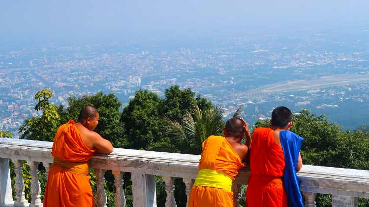 view of chiang mai with buddhist monks