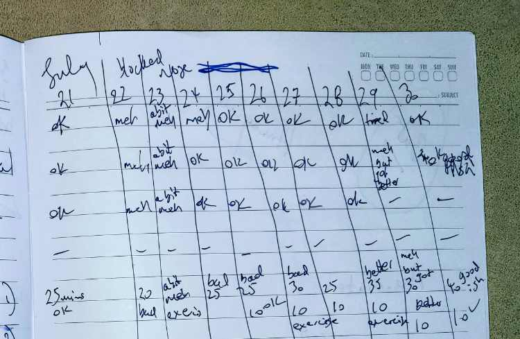 hand written self care check in sheet